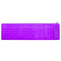 Unique BargainsFoldable Flexible 109 Keys USB Wired Roll up Silicone Keyboard Purple for Laptop