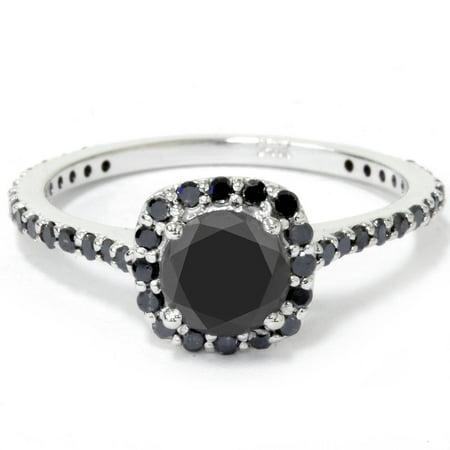 Women's 1 1/4ct Cushion Halo Treated Black Diamond Engagement Ring 14K Gold - image 2 of 2