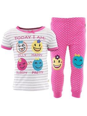 Duck Duck Goose Girls Emoji Pink Cotton Pajamas
