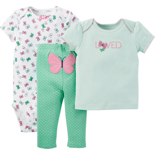 Child of Mine by Carter's Newborn Baby Girls' T Shirt, Bodysuit and Pant Outfit Set 3 Pieces