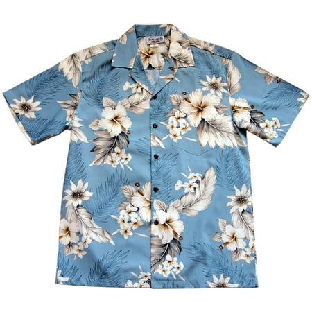 6f98fc51 Pacific Legend - Pacific Legend Mens Blue Plumeria Hibiscus Hawaiian Shirt  - Walmart.com