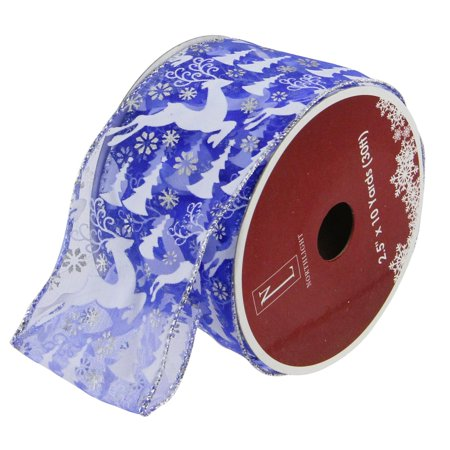 Blue Winter Wonderland Flying Reindeer Wired Christmas Craft Ribbon 2.5