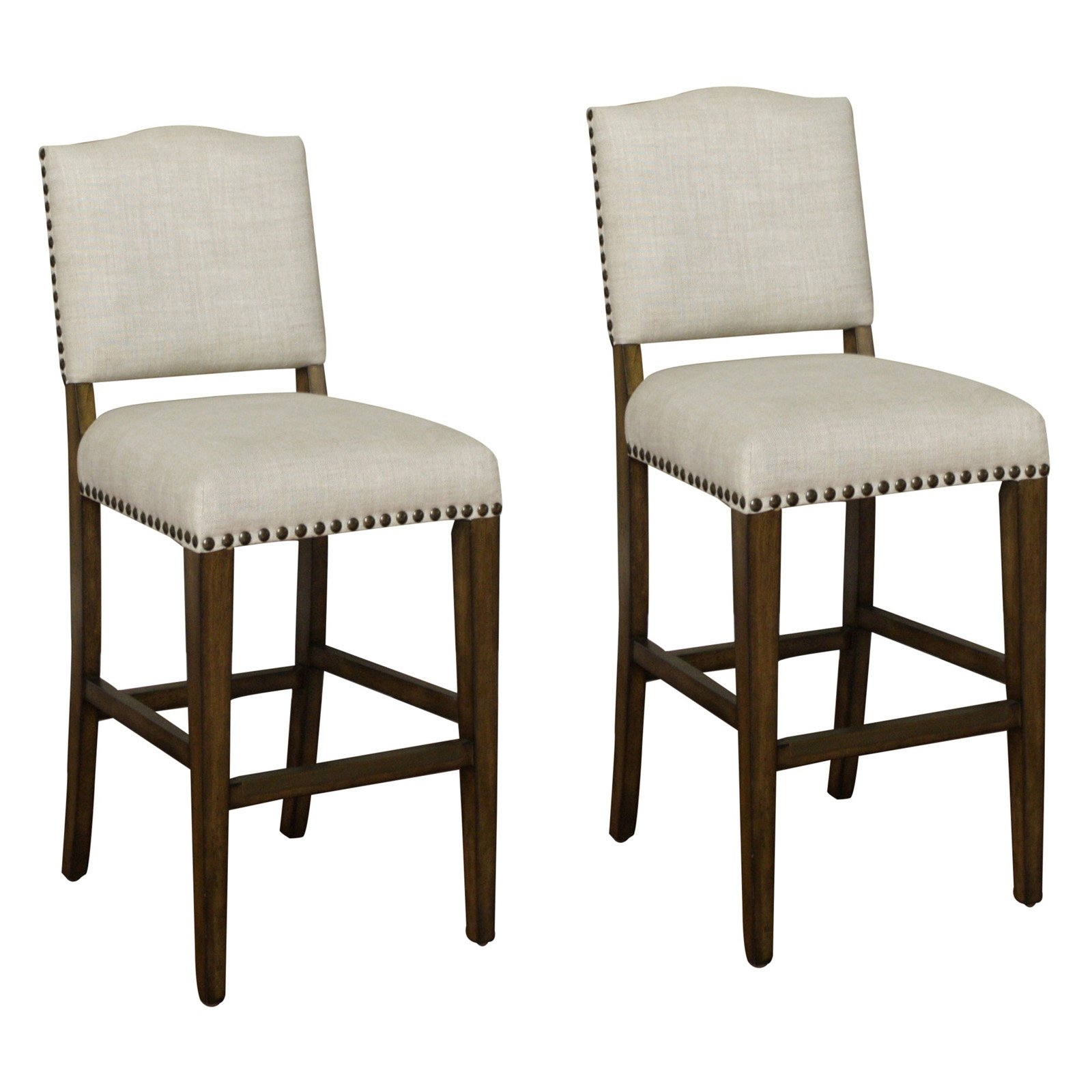 AHB Worthington Tall Bar Stool - Coastal  Gray with Sahara Sand Linen Upholstery - Set of 2