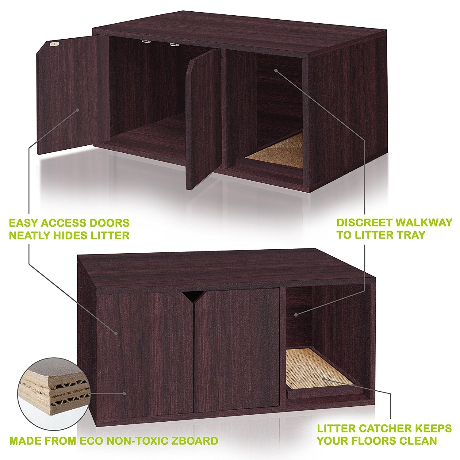 Way basics eco friendly modern cat litter box furniture made from sustainable non toxic zboard paperboard walmart com