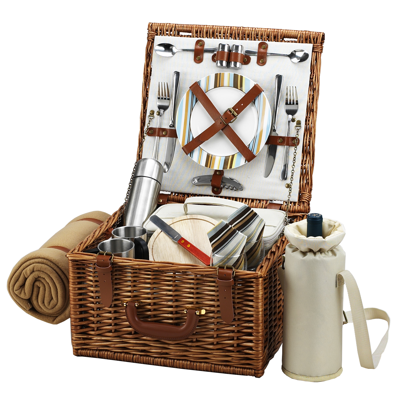 Picnic At Ascot Cheshire Basket for Two with Coffee Set and Blanket in Santa Cruz