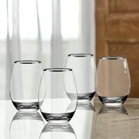 Better Homes & Gardens Silver Rim Stemless Glass Set of 4