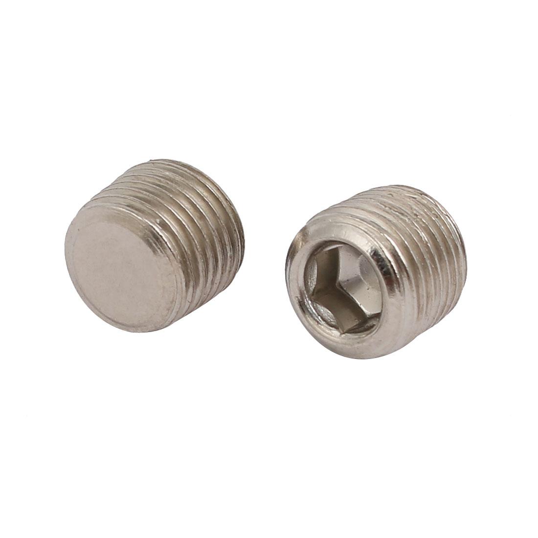 1/8BSP Male Thread Metal Flat Head Hex Socket Grub Screw Silver Tone 2pcs