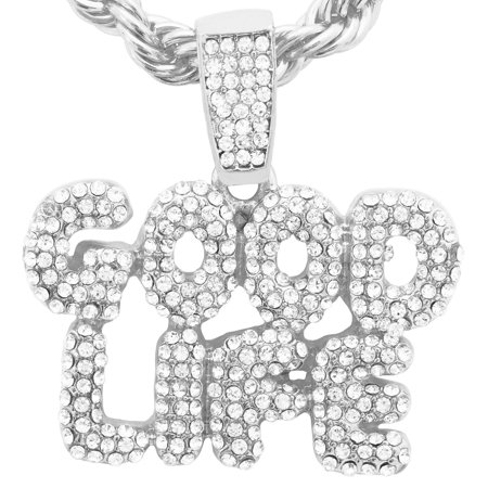 14K White Gold Plated Hip Hop Bling Simulated Iced Out