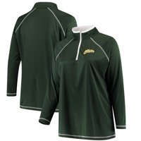 Oakland Athletics Majestic Women's Plus Size Quarter-Zip Pullover Jacket - Green