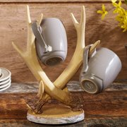 Faux Antlers Coffee Cup and Mug Tree Rack with Birch Embellishments