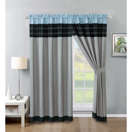 4-Pc Jordan Embroidery Stripe Lines Curtain Set Blue Black Gray Valance Drape Sheer - Blue And Grey Jordans