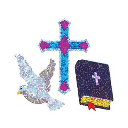 Bulk Roll Prismatic Stickers, Dove / Cross / Bible (100 Repeats)