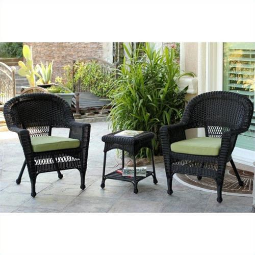 Jeco 3 Piece Wicker Conversation Set in Black with Green Cushions