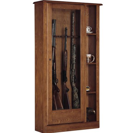 10 Gun/Curio Cabinet Combination, Medium Brown thumbnail