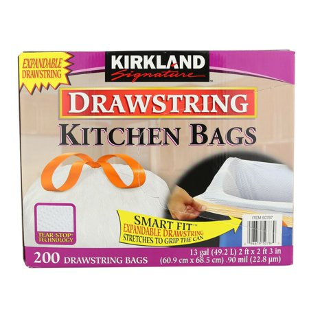 Kirkland Signature Drawstring Kitchen Trash Bags - 13 Gallon - 200 ...