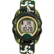 Timex Kids Translucent Green Digital Watch, Camoflauge Elastic Fabric Strap