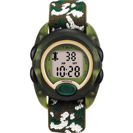 Timex Kids' Translucent Green Digital Watch, Camouflage Elastic Fabric Strap