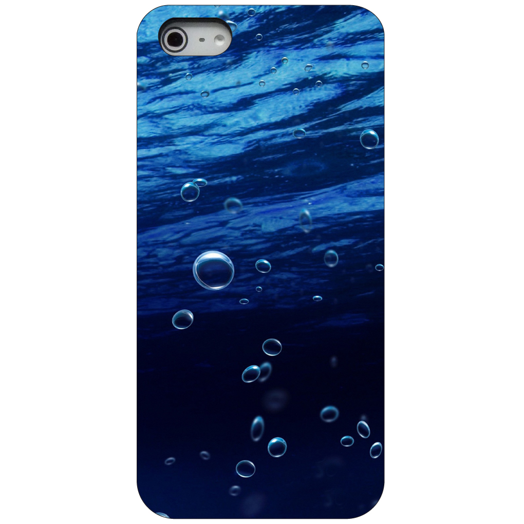 CUSTOM Black Hard Plastic Snap-On Case for Apple iPhone 5 / 5S / SE - Water Bubbles Blue
