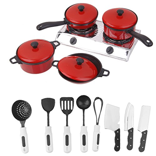 1Set Kids Play House Toy Kitchen Utensils Pots Cooking Food Dishes Fun Cookware