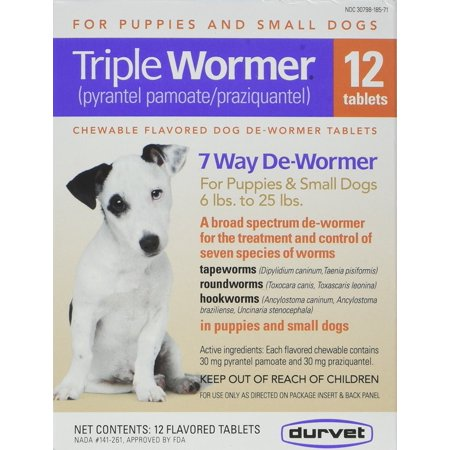 12-Pack Triple Wormer Tablets for Puppies and Small Dogs, Convenient 12 Pack By (Best Puppy Wormer Uk)