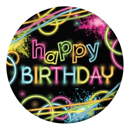 Happy Birthday Party Plates - Club Pack of 96 Neon Glow Party