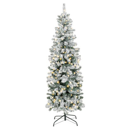Best Choice Products 6ft Pre-Lit Artificial Snow Flocked Pencil Christmas Tree Holiday Decoration w/ 250 Clear Lights Decorating Artificial Christmas Tree