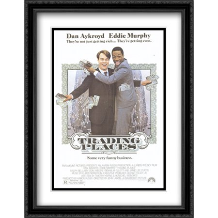 206 Matt - Trading Places 28x36 Double Matted Large Black Ornate Framed Movie Poster Art Print