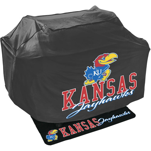 Mr. Bar-B-Q NCAA Grill Cover and Grill Mat Set, University of Kansas Jayhawks
