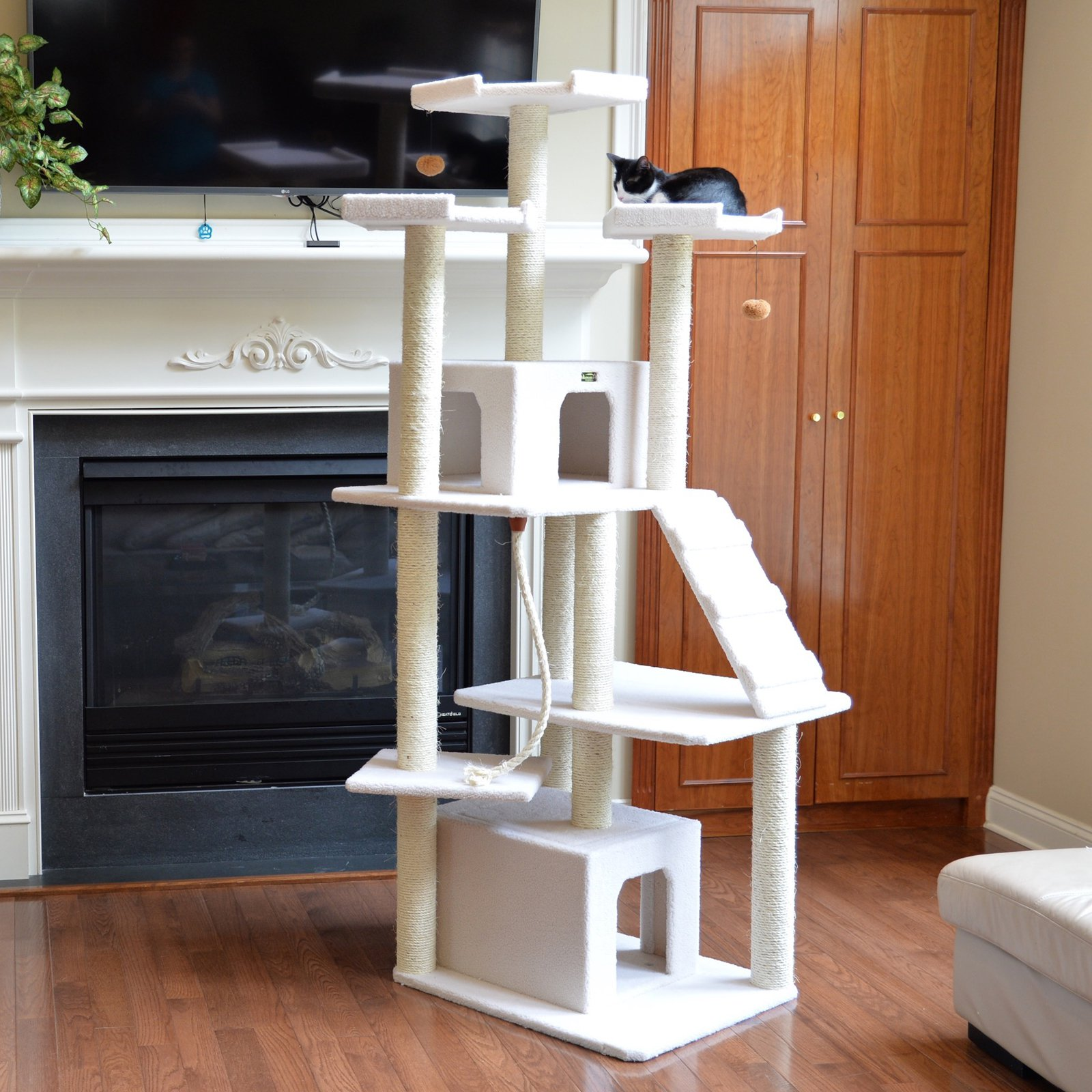 Armarkat Classic Ivory 82 in. Double Condo Triple Tower Perch Cat Tree - Ivory