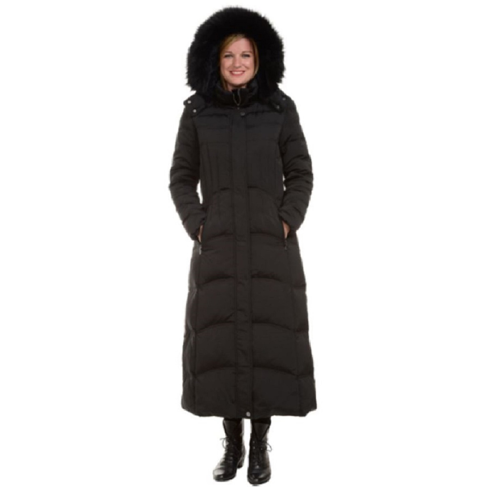 1 Madison Women's Hooded Luxe Down Maxi Parka Coat (Small)