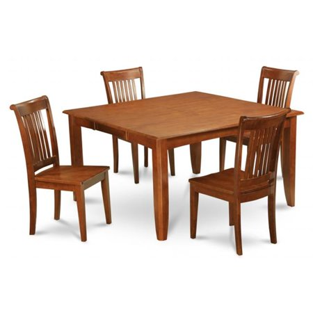 East West Furniture PFPO7-SBR-W 7 Piece Dining Set-Table With Leaf and 6 Dinette Chairs