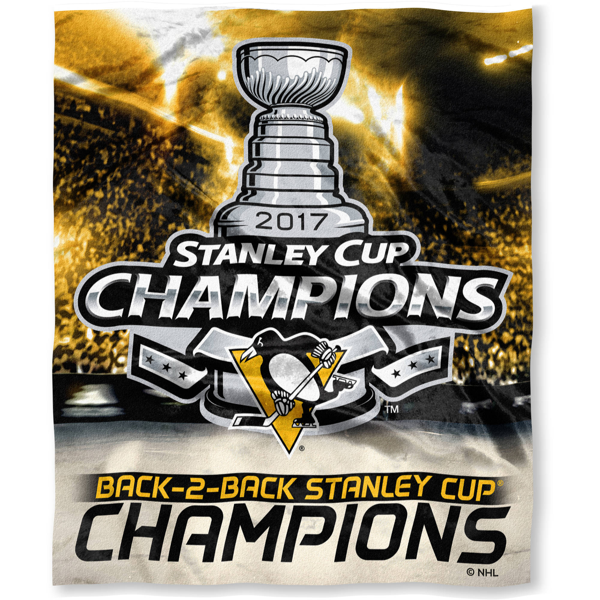 "Official National Hockey League Pittsburgh Penguins ""2017 Stanley Cup Champions"" High-Definition Silk Touch Throw, 50"" x 60"" 760677"