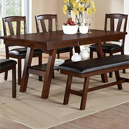 Dark Brown Wood (Solid Wood Dark Walnut Brown Dining Table )