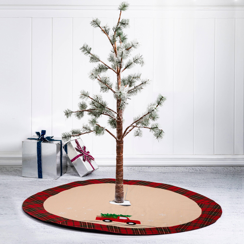 Glitzhome 48 Christmas Fabric Christmas Tree Skirt Red Truck Walmart Com Walmart Com