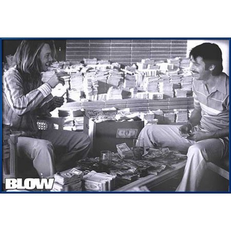 Blow - Framed Movie Poster / Print (Johnny Depp With Cash) (Size: 36