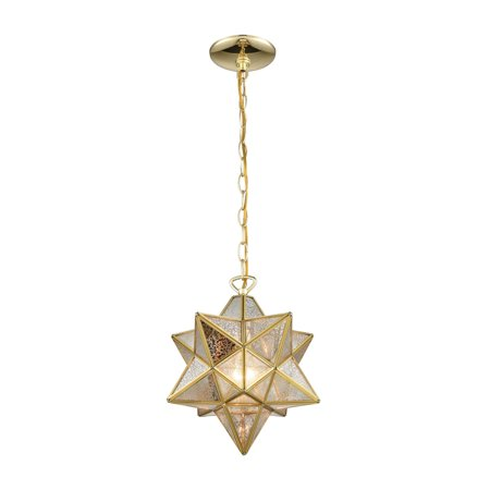 12 Moravian Star Pendant (Moravian Star 1-Light Mini Pendant in Brass with Gold Mercury Glass -)