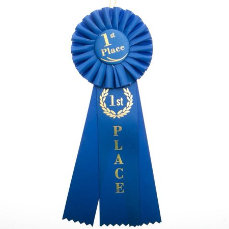 1st Place Rosette Ribbon, By Century Novelty First Place Blue Ribbon