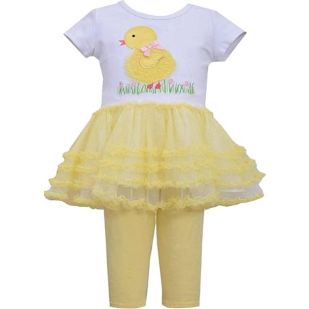 Bonnie Jean Little Girl 2T-6X Yellow White Baby Chick Tutu Dress Legging Set [BNJ04518]