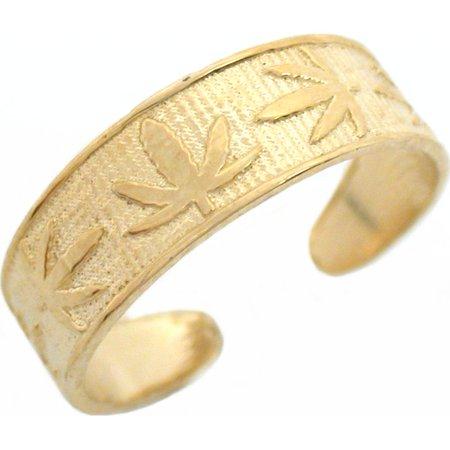 10K Gold Marijuana Leaf Toe Ring