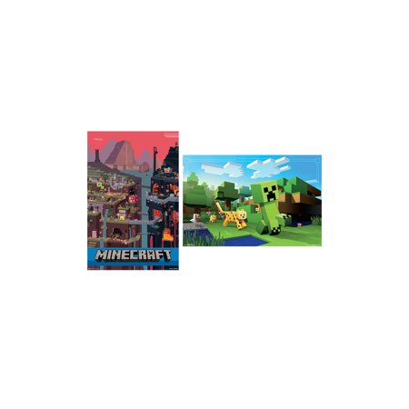 Trends International Minecraft Cube & Ocelot Chase Collector's Bundle Wall Poster - Minecraft Medieval Wall