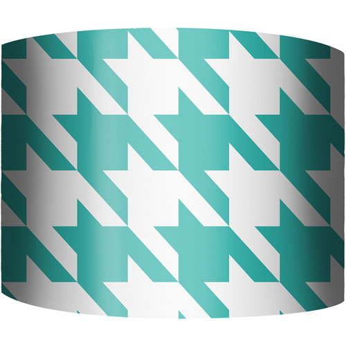 "12"" Drum Lampshade, Blue and White Houndstooth by"