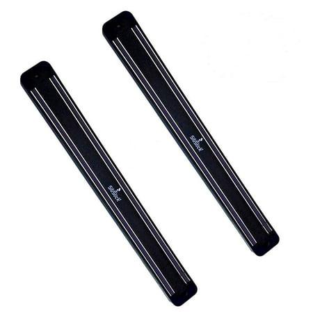 2 Pack SiliSlick Magnetic Knife Rack Wall Strip | Magnet Tool Holder | Magnetic Bar for Kitchen, Garage, Bathroom, Art Supplies or Home Organizer Color Black Rack Pack Module