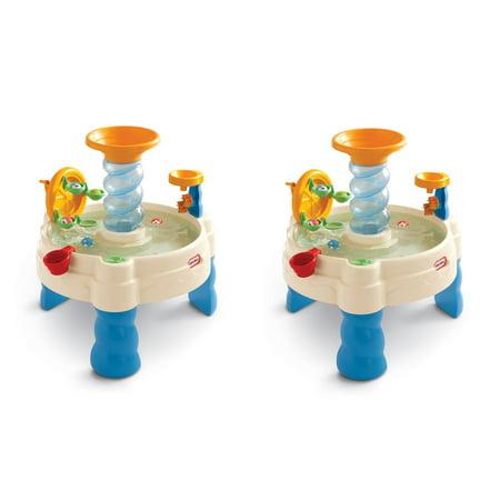 Little Tikes Spiralin Seas Kid Toddler Outdoor Waterpark Sandbox Table 2 Pack