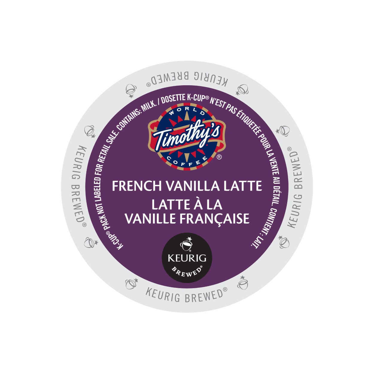 Timothy's French Vanilla Latte, K-Cup Portion Pack for Keurig Brewers (96 Count) (4x16oz)