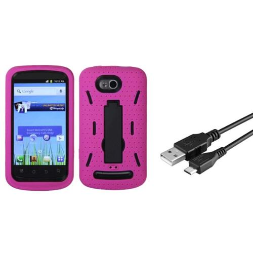 Insten Black/Hot Pink Symbiosis Stand Case for COOLPAD: 5860E (Quattro 4G) (Bundle with Micro USB Cable Charging Cable)