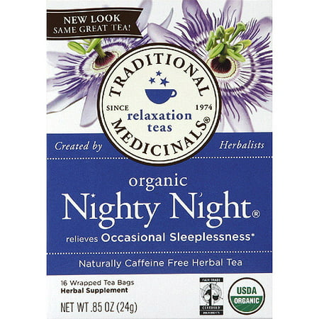 TRADITIONAL MEDICINALS Organic Nighty Night Herbal Tea, 16 count, (Pack of 6)