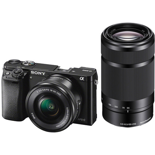 Sony Alpha a6000 Mirrorless Interchangeable-lens Camera with 16-50mm and 55-210mm Lens Black by Sony