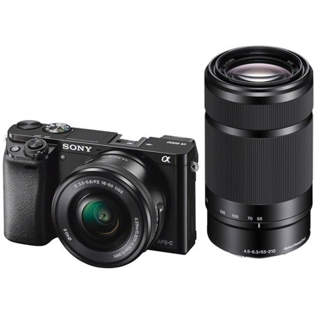 Sony Alpha a6000 Mirrorless Interchangeable-lens Camera with 16-50mm and 55-210mm Lens - Black