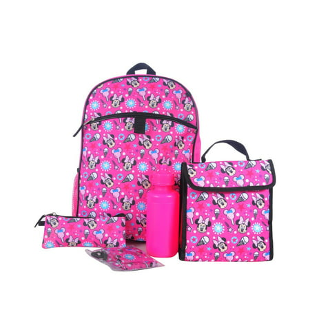 DISNEY GIRLS' MINNIE MOUSE 5 PIECE SET BACKPACK - Minnie Mouse Outfit For Women