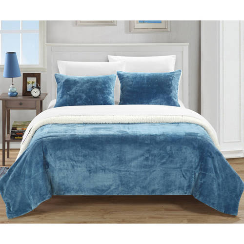 Chic Home Ernest Plush Sherpa Blanket, Sheet Set and Pillow Shams Included